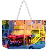 Red Bistro Umbrellas Cafe Cote Soleil Rue St Denis Yellow Staircase Montreal Scenes Carole Spandau Weekender Tote Bag