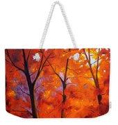 Red Blaze Weekender Tote Bag by Nancy Merkle