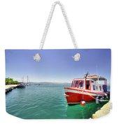 Red Boat At Nafplion Harbour Weekender Tote Bag