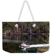 Red Boat Returning From Sea Weekender Tote Bag