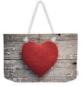 Red Burlap Heart On Vintage Table Weekender Tote Bag