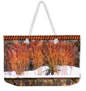 Red Bushes And Rock Wall Weekender Tote Bag