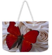 Red Butterfly Among White Roses Weekender Tote Bag
