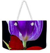 Red Butterfly And Purple Tulip Weekender Tote Bag