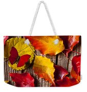 Red Butterfly In Autumn Leaves Weekender Tote Bag