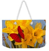 Red Butterfly On Daffodils Weekender Tote Bag