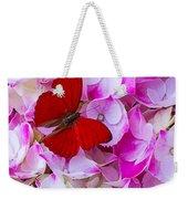 Red Butterfly On Hydrangea Weekender Tote Bag