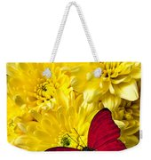 Red Butterfly On Poms Weekender Tote Bag