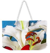 Red Butterfly On White Tiger Lily Weekender Tote Bag