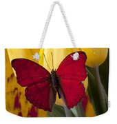 Red Butterfly Resting On Tulips Weekender Tote Bag