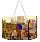 Red Cab On Gerrard Chinatown Morning Toronto City Scape Paintings Canadian Urban Art Carole Spandau Weekender Tote Bag