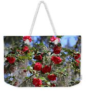 Red Camellias And Blue Sky Weekender Tote Bag