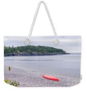 Red Canoe And Woman In Green Dress Weekender Tote Bag