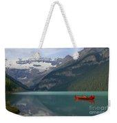 Red Canoes On Lake Louise Weekender Tote Bag