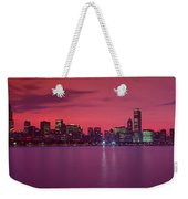 Red Chicago Sunset Weekender Tote Bag