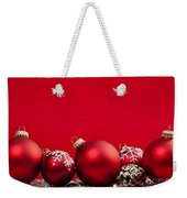Red Christmas Baubles And Decorations Weekender Tote Bag by Elena Elisseeva