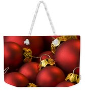 Red Christmas Baubles Weekender Tote Bag by Anne Gilbert