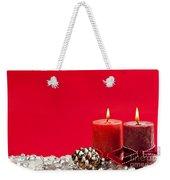 Red Christmas Candles Weekender Tote Bag by Elena Elisseeva