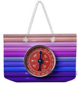 Red Compass On Rolls Of Colored Pencils Weekender Tote Bag