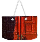 Red Door Behind Mysterious Shadow  Weekender Tote Bag