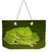 Red-eyed Tree Frogs In Amplexus Sleeping Weekender Tote Bag