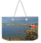 Red Fishing Boat In Twillingate Harbour-nl Weekender Tote Bag