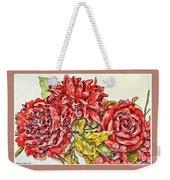 Red Floral Photoart Weekender Tote Bag