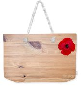 Red Flower On Wood  Weekender Tote Bag