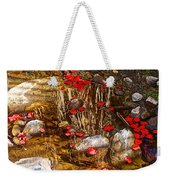 Red Flower Petals In Creek In Lower Palm Canyon In Indian Canyons Near Palm Springs-california Weekender Tote Bag