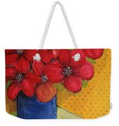 Red Flowers In A Blue Vase Weekender Tote Bag