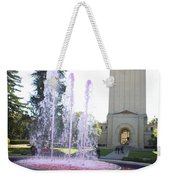 Red Fountain And Hoover Tower Stanford University Weekender Tote Bag