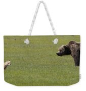 Red Fox  And Grizzly Bear Weekender Tote Bag