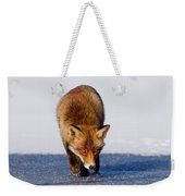 Red Fox Crossing A Frozen Lake Weekender Tote Bag