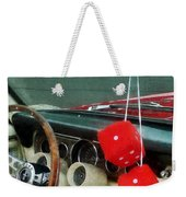 Red Fuzzy Dice In Converible Weekender Tote Bag