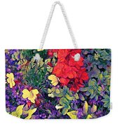 Red Geranium With Yellow And Purple Flowers - Horizontal Weekender Tote Bag