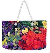 Red Geranium With Yellow And Purple Flowers - Vertical Weekender Tote Bag
