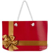Red Gift Background With Gold Ribbon Weekender Tote Bag