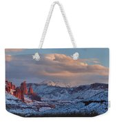 Red Glow In A Sea Of White - Panorama Weekender Tote Bag
