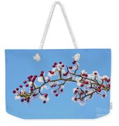 Red Haws Frosted By Snow Weekender Tote Bag
