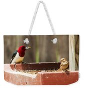 Red-headed Woodpecker Feeding Weekender Tote Bag
