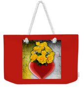 Red Heart Vase With Yellow Roses Weekender Tote Bag