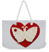 Red Heart With Butterfly Weekender Tote Bag