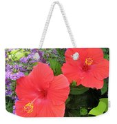 Red Hibiscus And Purple Blossoms Weekender Tote Bag