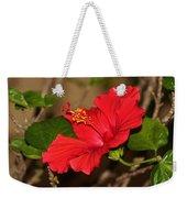 Red Hibiscus Flower Weekender Tote Bag