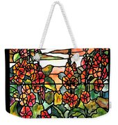 Stained Glass Tiffany Red Hollyhocks In Landscape In Watercolor Weekender Tote Bag