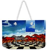 Red Horses With Zebra Weekender Tote Bag