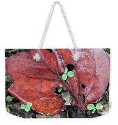Red Leaf On Green Weekender Tote Bag