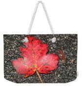 Red Leaf On Pavement Weekender Tote Bag