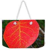 Red Leaf With Yellow Veins Weekender Tote Bag