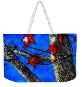 Red Leaves Blue Sky In Autumn Weekender Tote Bag
